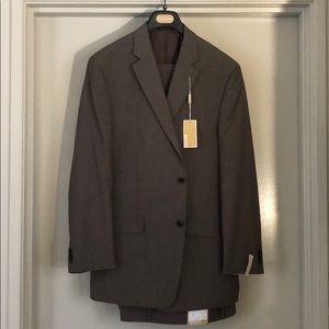 Michael Kors Mens Wool Suit - Brown/Grey